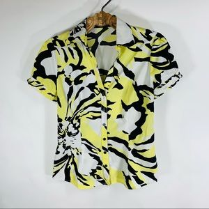 Y2K Express Abstract Puff Sleeve Blouse S/M